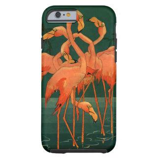 Pájaros del animal salvaje del vintage, flamencos funda resistente iPhone 6
