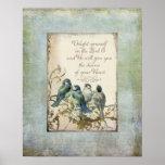 Pájaros del arbolado - Bluebirds en una rama flora Impresiones