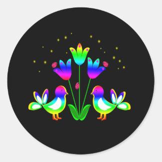 Pájaros del arco iris y pegatinas de los tulipanes pegatina redonda