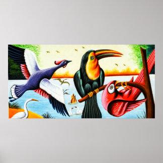 Pájaros del arte del carrito póster