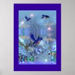 Pájaros del azul del arte de la fantasía del poste