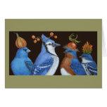 Pájaros del azul en tarjeta anaranjada de la noche