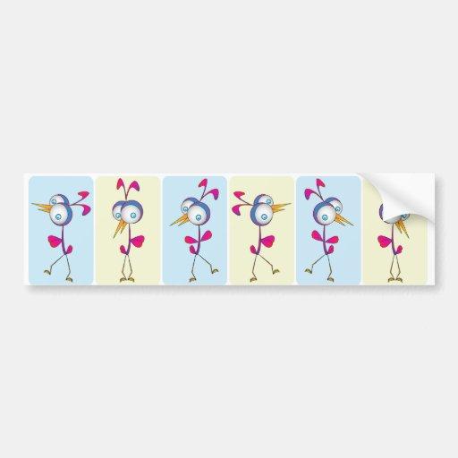 Pájaros del baile etiqueta de parachoque