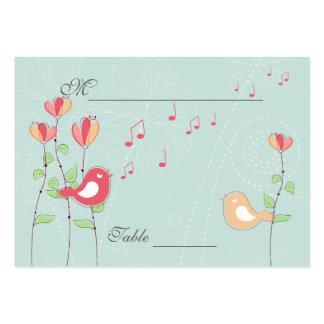 Pájaros del canto con las flores que casan el cubi tarjeta de negocio