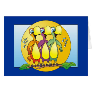 Pájaros del canto dibujo animado tarjeta de felicitación