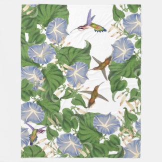 Pájaros del colibrí y flores de la correhuela manta de forro polar
