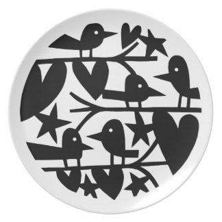 Pájaros del corazón platos para fiestas