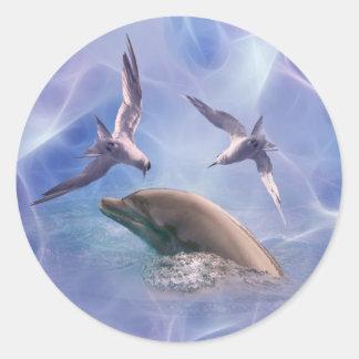 Pájaros del delfín y del salto etiquetas