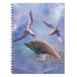 Pájaros del delfín y del salto libretas espirales