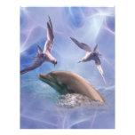 Pájaros del delfín y del salto membrete