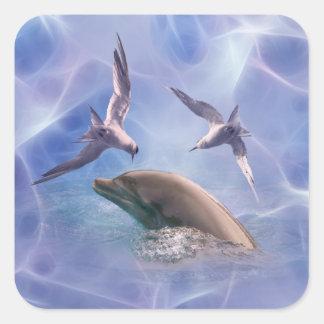 Pájaros del delfín y del salto calcomanías cuadradass personalizadas