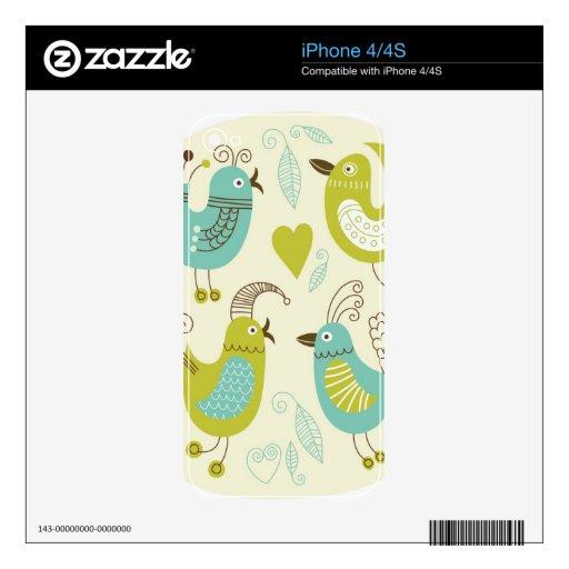 pájaros del dibujo animado del cate skins para eliPhone 4