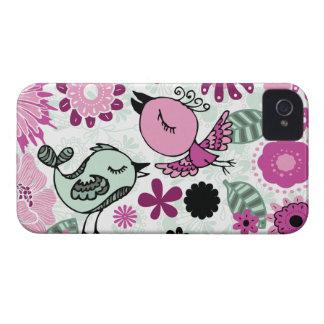 pájaros del doodle iPhone 4 Case-Mate cobertura