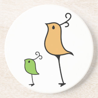 Pájaros del Doodle naranja verde Posavasos Cerveza