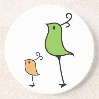 Pájaros del Doodle verde naranja Posavasos Manualidades