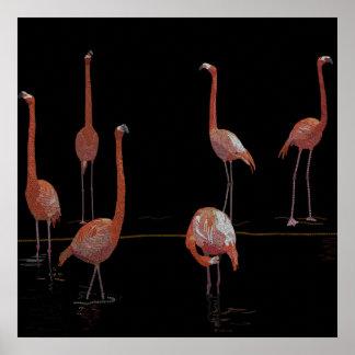 Pájaros del flamenco póster