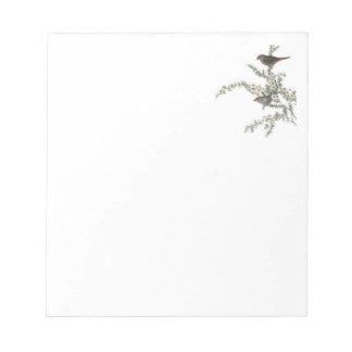 Pájaros del gris del cuaderno de notas bloc
