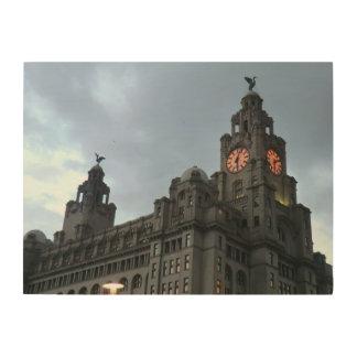 Pájaros del hígado de Liverpool y edificio real Cuadro De Madera