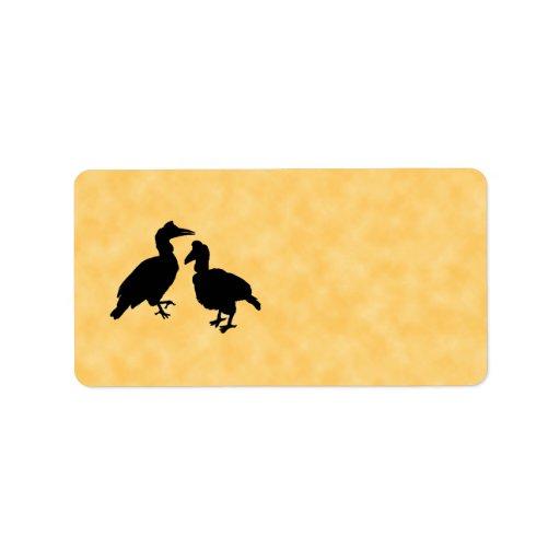 Pájaros del Hornbill Etiqueta De Dirección