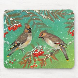 Pájaros del invierno alfombrilla de ratones