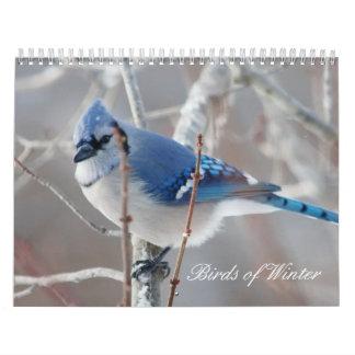 Pájaros del invierno calendario de pared