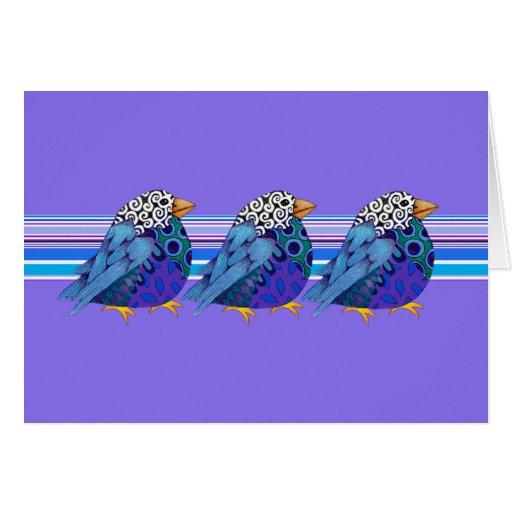 Pájaros del jazz Notecard en blanco (azul) Tarjeta Pequeña