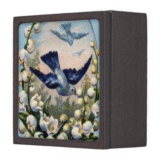 pájaros del lirio de los valles de las flores de caja de recuerdo de calidad