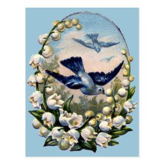 pájaros del lirio de los valles de las flores de postal