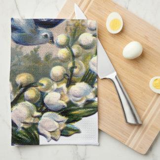 pájaros del lirio de los valles de las flores de toallas de cocina