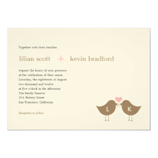 Pájaros del monograma que casan la invitación - invitación 12,7 x 17,8 cm