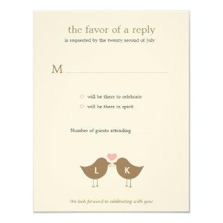 Pájaros del monograma que casan la tarjeta de invitación 10,8 x 13,9 cm
