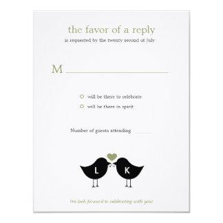 """Pájaros del monograma que casan la tarjeta de invitación 4.25"""" x 5.5"""""""