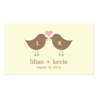 Pájaros del monograma que casan las etiquetas del tarjetas de visita