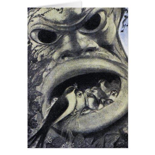 Pájaros del monstruo y de bebé - arte Nouveau Tarjeta De Felicitación