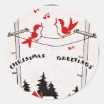 Pájaros del navidad del art déco etiqueta redonda