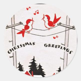 Pájaros del navidad del art déco pegatina redonda