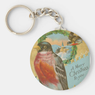 Pájaros del navidad del vintage llavero redondo tipo pin