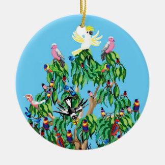 Pájaros del navidad en Australia Adorno Navideño Redondo De Cerámica