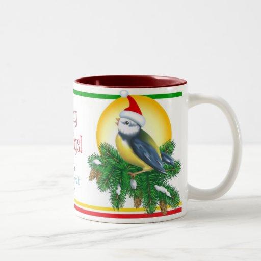 Pájaros del navidad taza de dos tonos