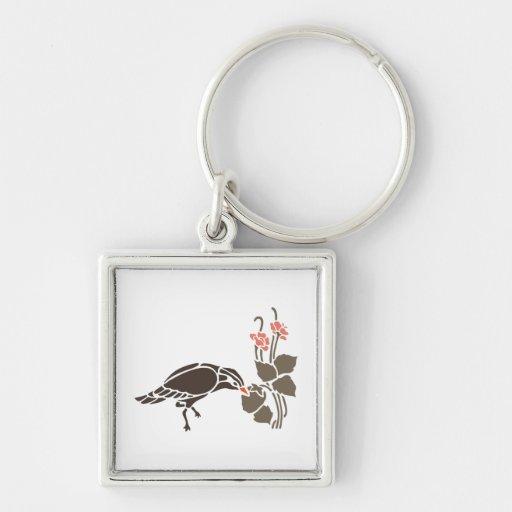 Pájaros del pájaro que comen el dibujo animado del llaveros personalizados