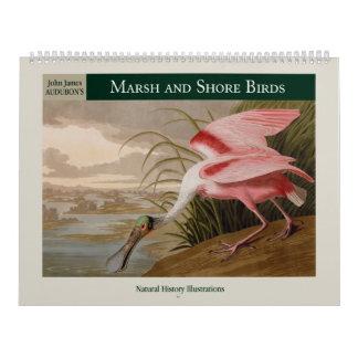 Pájaros del pantano y de la orilla de Audubon Calendario