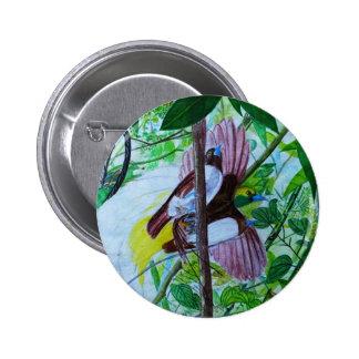 Pájaros del paraíso en la pintura de la acuarela pin redondo de 2 pulgadas
