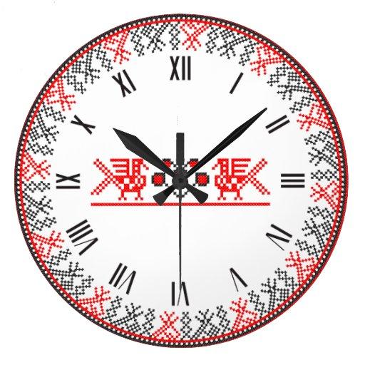 Pájaros del punto de cruz reloj de pared