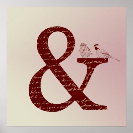 """Pájaros del signo """"&"""" póster"""