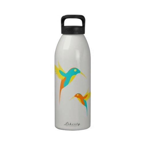 pájaros del tarareo botella de agua