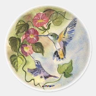 Pájaros del tarareo pegatinas redondas