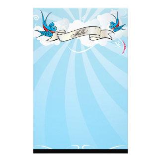 Pájaros del trago del tatuaje con la bandera papeleria de diseño