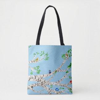 Pájaros del verano en el árbol de abedul, cielo bolsa de tela