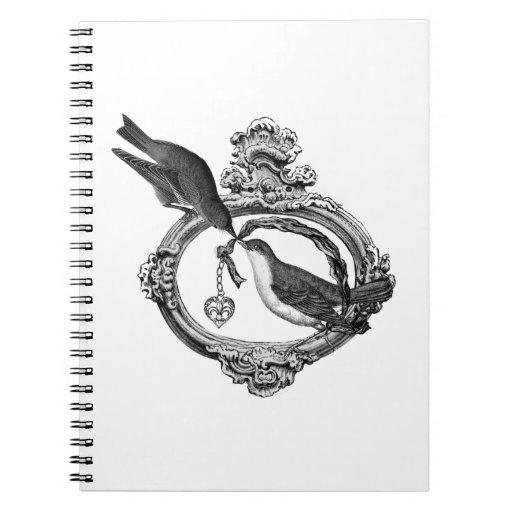 Pájaros del vintage con ropa y regalos del Locket  Libro De Apuntes