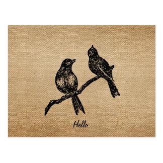 Pájaros del vintage de la arpillera hola postales